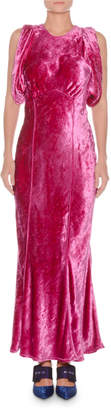 ATTICO Jewel-Neck Sleeveless Mermaid Velvet Evening Gown