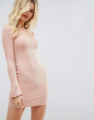 Asos Design Mini Rib Bodycon Dress with Frill Cuffs