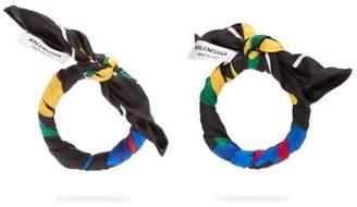 Balenciaga Silk Twill Hoop Earrings - Womens - Multi