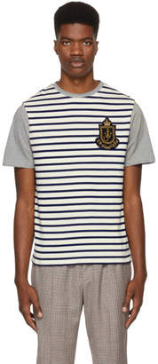 J.W.Anderson Navy and Off-White Panelled Breton Stripe T-Shirt