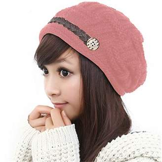LACASA Winter Wear Warm Women's Beanie Style Cable Knit Cap Hat with Faux Leather Strap and Buttons