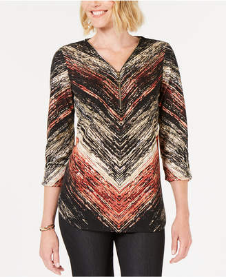 JM Collection Printed Zip-Neck Top