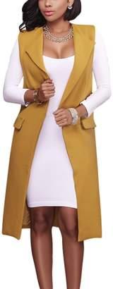 Suvotimo Women Elegant Sleeveless Office Jumper Open Duster Blazer Vest Jackets With Pocket L