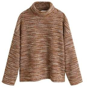 MANGO High collar tweed sweater