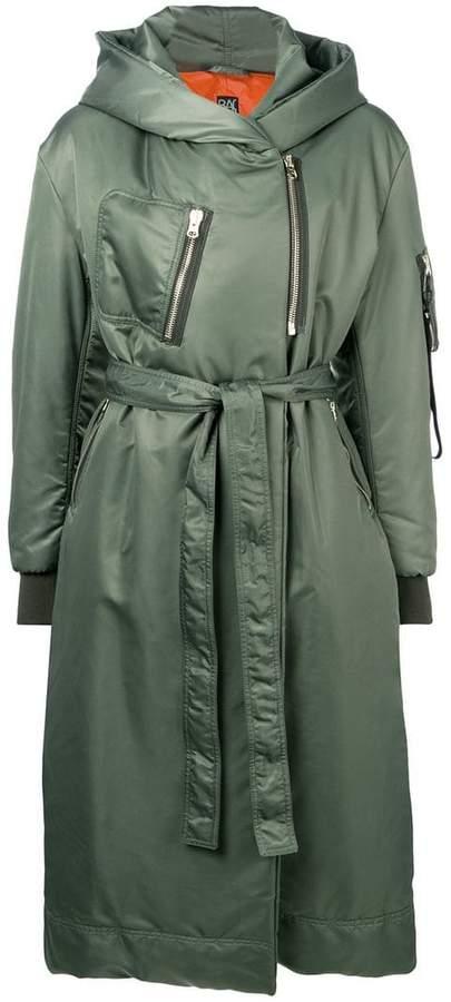 hooded belted rain coat