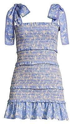 LoveShackFancy Women's Belle Smocked Cotton Mini Dress