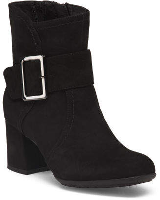 Low Heel Suede Booties