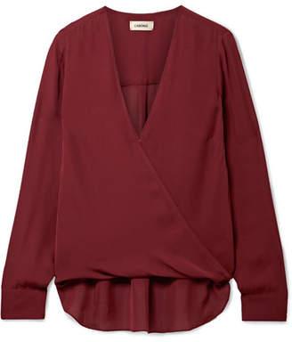 L'Agence Kayla Wrap-effect Silk Crepe De Chine Blouse - Burgundy