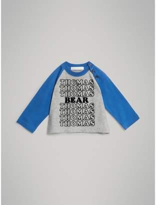 Burberry Thomas Bear Raglan-sleeve Cotton Top , Size: 2Y, Grey