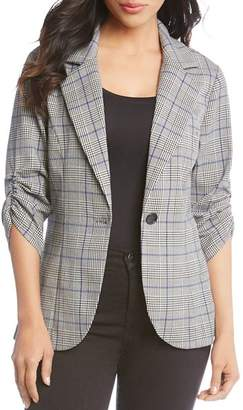 Karen Kane Ruched-Sleeve Glen Plaid Blazer - 100% Exclusive