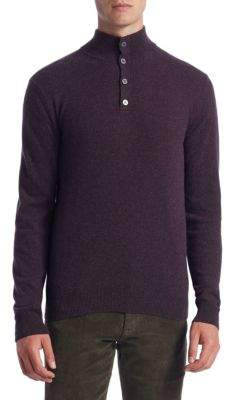 Saks Fifth Avenue COLLECTION Cashmere Mockneck Elbow Patch Sweater