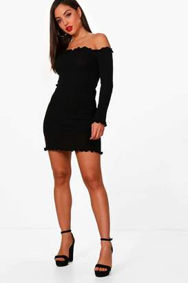 boohoo Ruffle Knitted Mini Dress