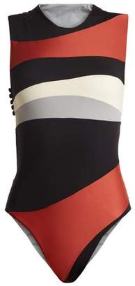 Haight - Cut Out Contrast Panel Swimsuit - Womens - Black Multi