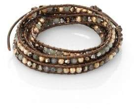 Chan Luu Labradorite, Crystal& Leather Multi-Row Beaded Wrap Bracelet