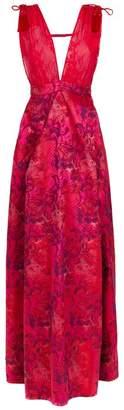 À La Garçonne floral lace gown