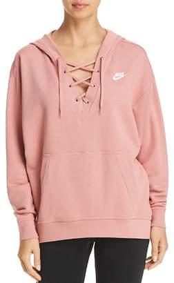 Nike Club Lace-Up Hooded Sweatshirt