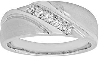 MODERN BRIDE Mens 1/4 CT. T.W. 10K White Gold 5-Stone Wedding Band