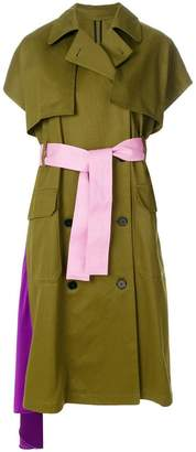 MSGM short-sleeve belted trench coat