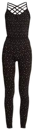 Pepper & Mayne - Criss Cross Star Print Performance Unitard - Womens - Black Multi