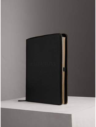 Burberry Embossed Grainy Leather Ziparound A4 Notebook Case