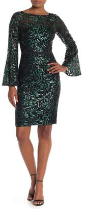 Carmen Marc Valvo Embroidered Sequin Bell Sleeve Sheath Dress