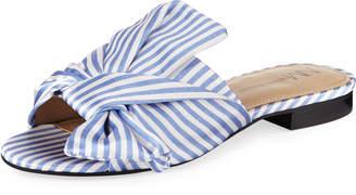 Neiman Marcus Nineya Striped Flat Sandal