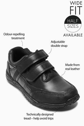 Next Boys Black Sporty Double Strap Leather Shoes (Older)