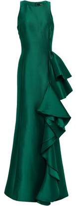 Badgley Mischka Ruffled Twill Gown