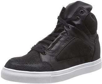 Bronze/Schwarze High-top Sneakers Mit Glitzer Effekt, Womens Hi-Top Sneakers La Strada