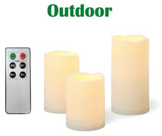 Candle Choice 3 Piece Outdoor Flameless Candles with Remote Timer Plastic Realistic Flickering Battery Operated LED Pillar Melted Edge Party Wedding Birthday Home Holiday Decor Gifts 3 Pack