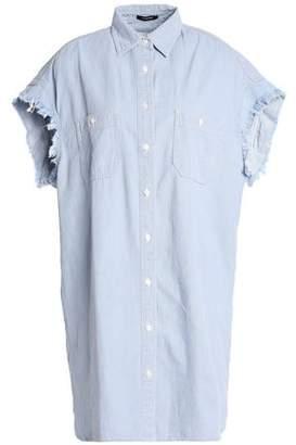 R 13 Oversized Frayed Cotton-Chambray Shirt