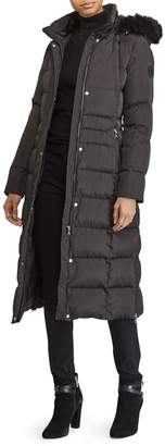 Lauren Ralph Lauren Long Down Coat with Faux Fur Trim
