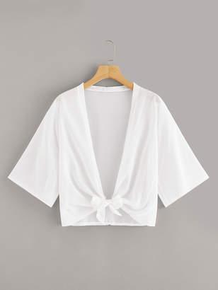 Shein Knot-front Plain Kimono
