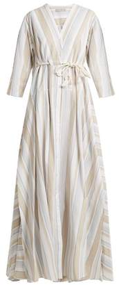 Palmer//harding - Striped Drawstring Waist Cotton Blend Maxi Dress - Womens - Beige Multi