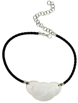 Bulgari Enigma by Sterling Silver Black Leather Necklace