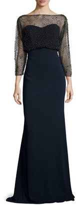 Badgley Mischka 3/4-Sleeve Beaded Blouson Gown, Black/Navy $990 thestylecure.com