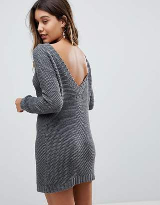 Fashion Union Sweater Dress In Cable Knit With Deep V Back