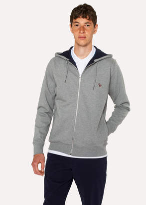 Paul Smith Men's Grey Organic-Cotton Zip-Front Zebra Logo Hoodie