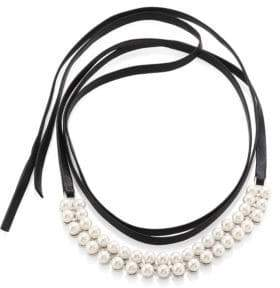 Fallon Monarch Faux Pearl& Leather Wrap Choker