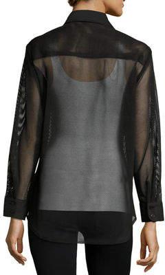 Neiman Marcus Finley Mesh Barret Button-Front Blouse