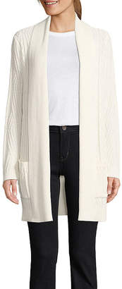 ST. JOHN'S BAY Womens Long Sleeve Open Front Cardigan-Tall