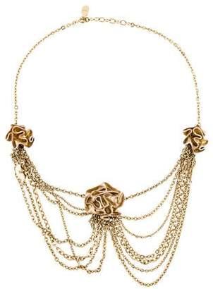 Christian Dior Enamel Rosette Multichain Collar Necklace