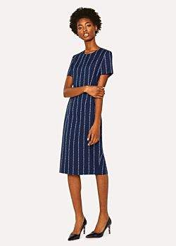 Women's Navy 'Floral Stripe' Print Shift Dress