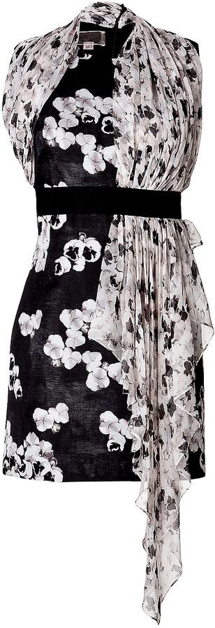 Giambattista Valli Draped Print Cocktail Dress