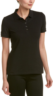 Burberry Check Trim Stretch Cotton Pique Polo Shirt