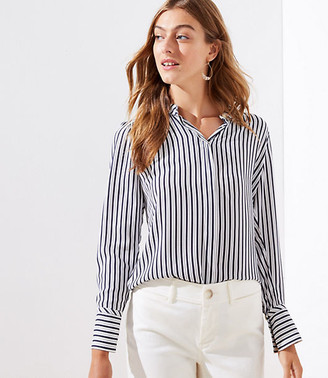 LOFT Striped Crossover Back Yoke Utility Blouse