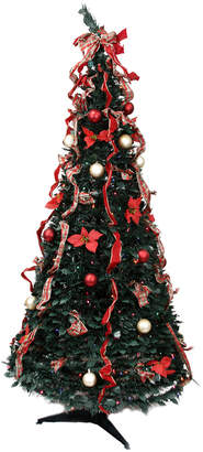 Northlight Pre-Lit Gold & Red Plaid Decorated Pop-Up Artificial Christmas Tree