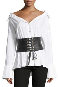 Leather Corset Button-Front Poplin Shirt