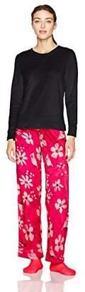 Hue Women's Sueded Fleece Long Sleeve Tee and Pant 3 Piece Pajama Set