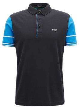 BOSS Hugo Slim-fit polo shirt color-block sleeves L Black